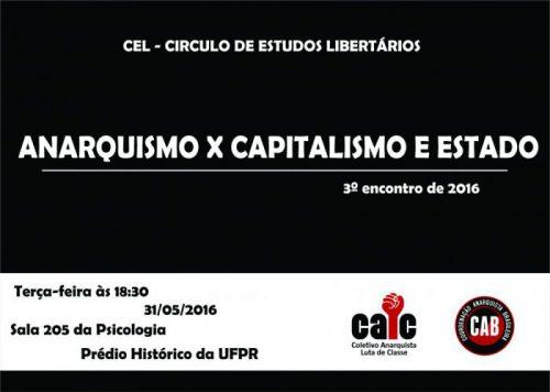 [CURITIBA] 3º ENCONTRO DO CÍRCULO DE ESTUDOS LIBERTÁRIOS (CEL) – NA PRÓXIMA TERÇA (31/05/2016)!