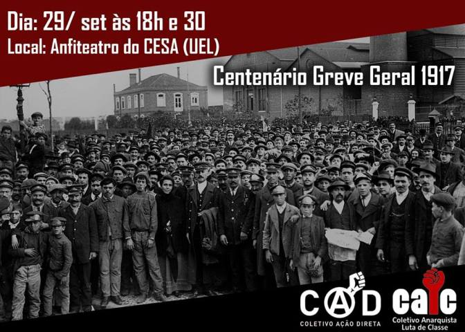 EVENTO ADIADO – [LONDRINA] Centenário de Greve Geral de 1917